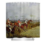 A Steeplechase - Taking A Hedge And Ditch Henry Thomas Alken Shower Curtain