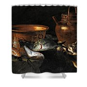 A Still Life Of Fish With Copper Pans And A Cat  Shower Curtain