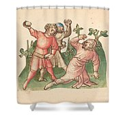 A Stoning Shower Curtain
