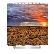 A Stormy New Mexico Sunset - Storm - Landscape Shower Curtain
