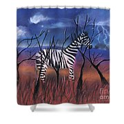 A Stormy Night For A Zebra  Shower Curtain