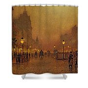 A Street At Night Shower Curtain