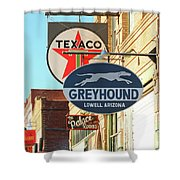 A Street Scene Of Vintage Signs, Lowell, Arizona Shower Curtain