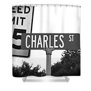 Ch - A Street Sign Named Charles Speed Limit 35 Shower Curtain