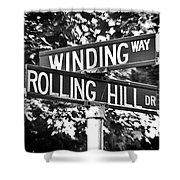 Wi - A Street Sign Named Winding Way And Rolling Hill Shower Curtain