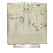 A Study For A Female Allegorical Figure And A Separate Study For Her Head Shower Curtain