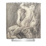 A Study Of Rodin's Kiss In His Studio Shower Curtain