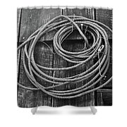 A Study Of Wire In Gray Shower Curtain by Douglas Barnett