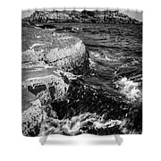 A Summer's Day At Nubble Light, York, Maine  -67969-bw Shower Curtain