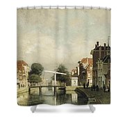 A Sunlit Canal With A Draw Shower Curtain