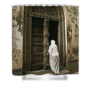 A Swahili Woman Enters A Building Shower Curtain