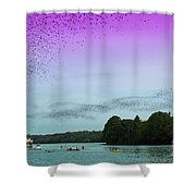 A Swarm Of Bats Fly Out From Underneath The Ann Richards Congress Avenue Bridge At Sundown Shower Curtain