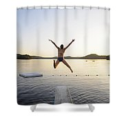 A Swimmer Jumps Off A Diving Board Shower Curtain