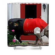 A Swiss Cow In New Glarus Wi Shower Curtain