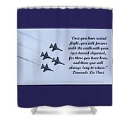 A Taste Of Flight Shower Curtain by April Wietrecki Green