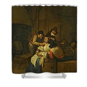 A Tavern Interior With Two Peasants Making Advances On A Maid With Figures Making Music Beyond Shower Curtain