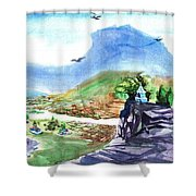 A Temple With A Mountain And Fields In The Background Shower Curtain