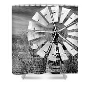 A Texas Windmill Shower Curtain