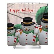 A Three Snowman Holiday Shower Curtain