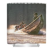 A Tigertail Boat On The Ping River Shower Curtain