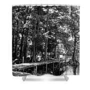 A Time To Go Fishing Bw Shower Curtain