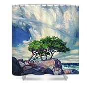 A Tree On The Seashore Reef Shower Curtain