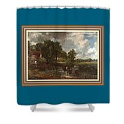 A Tribute To John Constable Catus 1 No. 1 -the Hay Wain L B With Alt. Decorative Ornate Frame. Shower Curtain