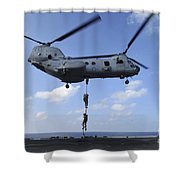 A Trio Of Marines Fast Rope Shower Curtain