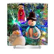 A Trio Of Snowmen Shower Curtain