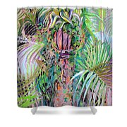 A Tropical Basket On A Post Shower Curtain