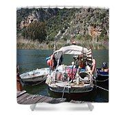 A Turkish Fishing Boat On The Dalyan River Shower Curtain