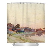 A Twighlight Harbour Scene Shower Curtain