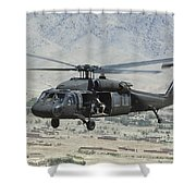 A Uh-60 Blackhawk Helicopter Shower Curtain