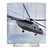 A U.s. Air Force Mi-8 Hip Helicopter Shower Curtain