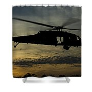 A U.s. Army Uh-60 Black Hawk Leaves Shower Curtain