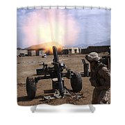 A U.s. Marine Corps Gunner Fires Shower Curtain by Stocktrek Images