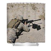 A U.s. Marine Zeros His M107 Sniper Shower Curtain by Stocktrek Images