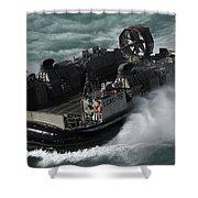 A U.s. Navy Landing Craft Air Cushion Shower Curtain by Stocktrek Images