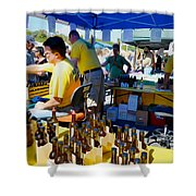 A Vendor At The Garlic Fest Offers Garlic Vinegar And Olive Oil For Sale Shower Curtain