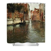 A Venetian Backwater  Shower Curtain by Fritz Thaulow