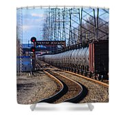A Very Long Line Of Tanker Cars Shower Curtain