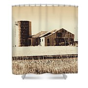 A Very Old Barn And Silo Shower Curtain