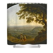 A View Across The Alban Hills With A Hilltop On The Right And The Sea In The Far Distance Shower Curtain