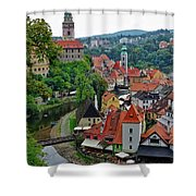 A View Of Cesky Krumlov And Castle In The Czech Republic Shower Curtain