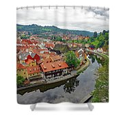 A View Of Cesky Krumlov And The Vltava River In The Czech Republic Shower Curtain