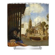 A View Of Delft With A Musical Instrument Seller's Stall Shower Curtain