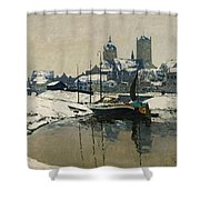 A View Of Neuss In Winter Shower Curtain