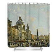 A View Of Piazza Navona With Elegantly Shower Curtain