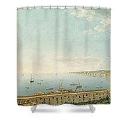 A View Of The Bay Of Naples Looking Southwest From The Pizzofalcone Toward Capo Di Posilippo Shower Curtain