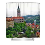 A View Of The Cesky Kromluv Castle Complex In The Czech Republic Shower Curtain
